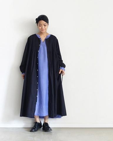 ICHI Antiquites  KHADI COTTONのピンタックロングシャツドレス