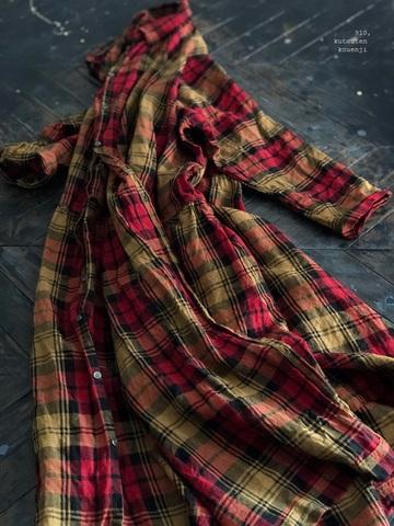 完売*ICHI Antiquites リネンクラシックタータンのロングシャツドレス