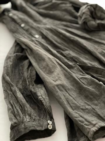 ラスト1点*ICHI Antiquites  墨染めKHADI COTTONのピンタックシャツ