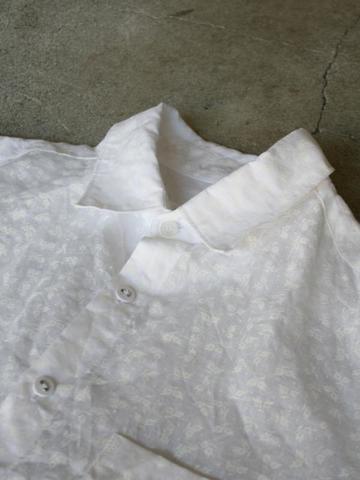 完売*Vlas Blomme ホワイトプリント リネンシャツ