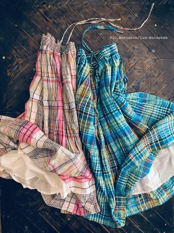 完売*ICHI Antiquites カラフルリネンチェックのスカート
