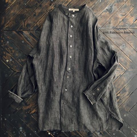 完売*Vlas Blomme Wither Linenのバンドカラーシャツ