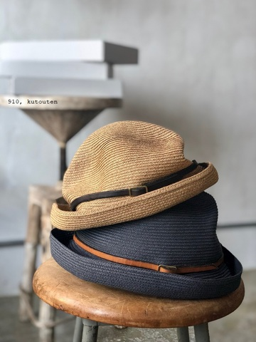 レザーベルトのBOXED HAT 7cm brim  mature-ha.