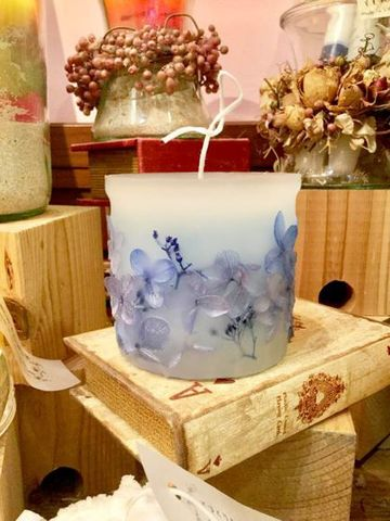 ふわり ブルー紫陽花 ハンドメイド ボタニカルキャンドル