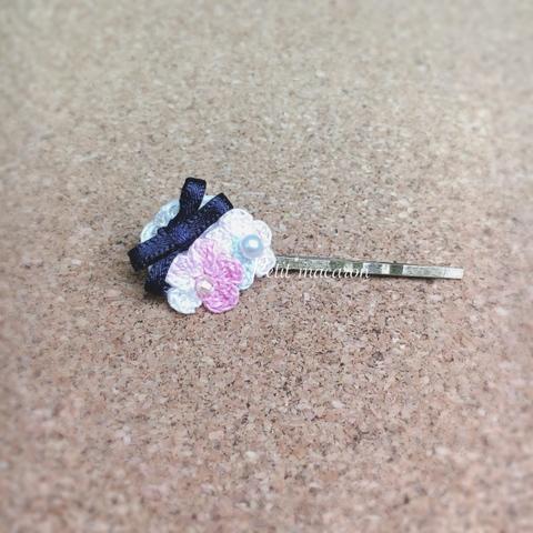 レース編みの小花ヘアピン01