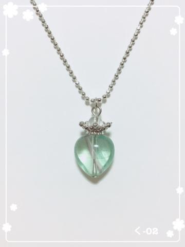 天然石ネックレス☆ハート×王冠 (く-02)