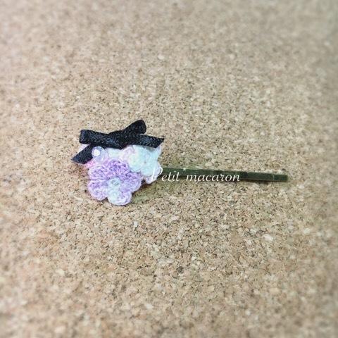 レース編みの小花ヘアピン03