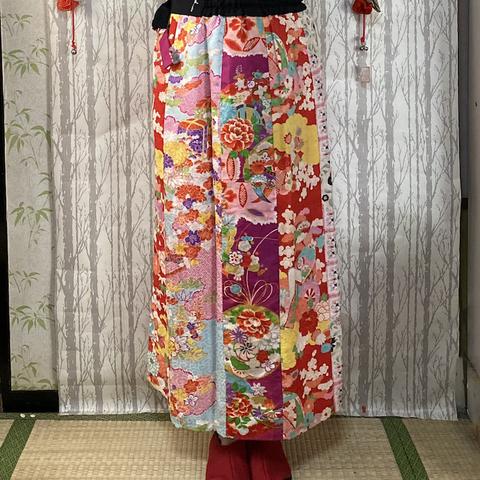 着物リメイク 巻きスカート