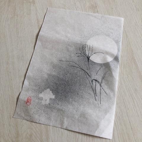 手書き便箋 大門和紙(ススキに月)