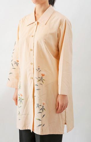着物リメイク-正絹紬ロングブラウス
