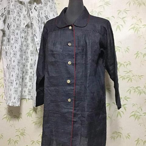着物リメイク 麻の絣コート