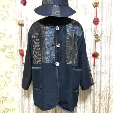 着物リメイク 大島パッチワークジャケット(1)