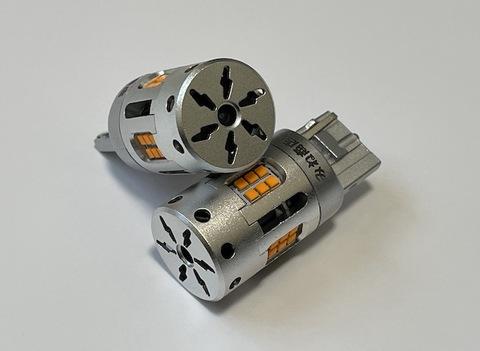 [ショートタイプ] T20・7440(シングル)冷却ファン付きハイフラキャンセラー内蔵 LEDウインカーバルブ・橙(アンバー)ノーマル・ピンチ部違い兼用(12V車専用)