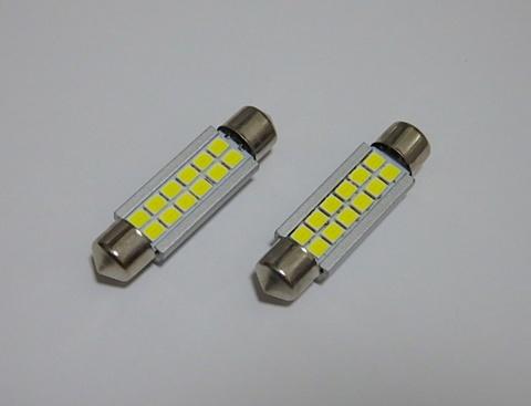 T10 x 39,42,44mm/2,4W POWER 2835 LED/ホワイト 6000K/単品 1個