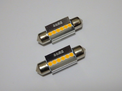 [レトロ電球色 4000K] T10 x 36(37)mm/Epistar 3030 monster LED(350LM)ワーニングキャンセラー内蔵/単品 1個