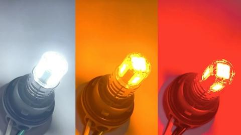 S25/BA15S(180°ピン/シングル)/ウルトラ 3030 LED(15pcs) 900LM/2個セット(白・橙・赤)12V車用(R5Wにも適合)