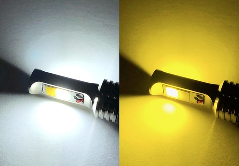 2色切り替え・カラーチェンジ(ホワイト・レモンイエロー)200系ハイエース1型/2型/3型(前期)/LEDフォグランプ/POWER COB LED/1200LM(フラッシュ機能付き)/TRH200