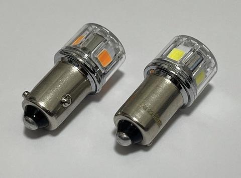 BAW9S/ウルトラ 3030LED(5pcs) 400LM/CANBUSキャンセラー内蔵(HY21W)120°段違いピン(橙・白)