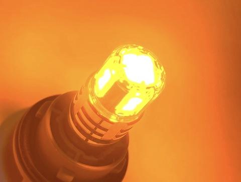 橙 S25/BAU15S(150°ピン角違い/シングル)PY21W/ウルトラ 3030 LED(15pcs) 900LM/アンバー・オレンジ/2個セット(12V車用)