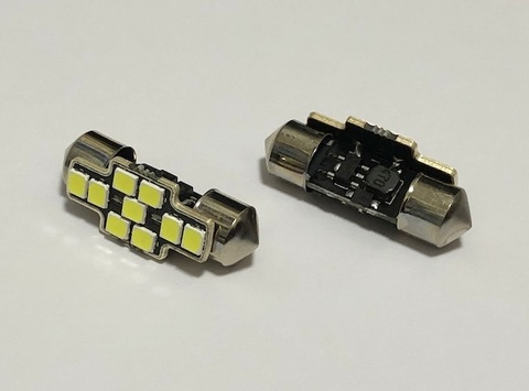 T10 x 31mm/Epistar 2835 Super Bright LED(400LM)/単品 1個(昼白色 6000K)CANBUS/12V車・24V車 兼用