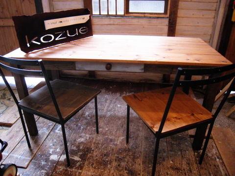 ラスティック,オールドパインのダイニングテーブル,W150,ブラックシャビー