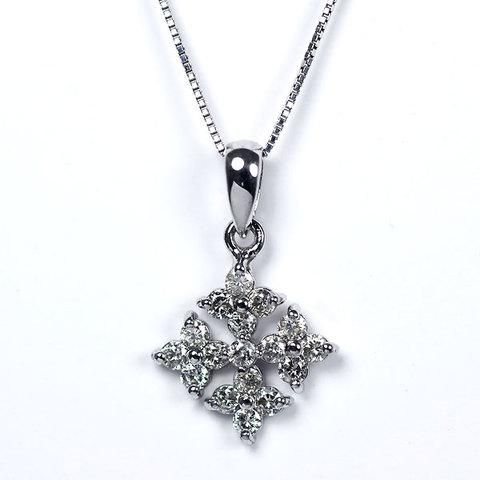 K18WG製ダイアモンドペンダントネックレス