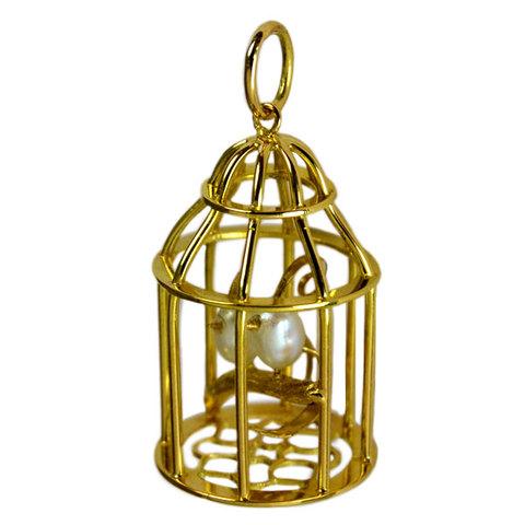 K18YG製淡水真珠ミニチュア鳥籠ペンダントトップ
