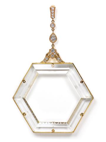 K18ロック・クリスタル ダイアモンド ペンダント・トップ