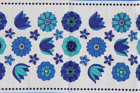 スウェーデンで見つけた青い花側柄のレトロファブリック(39.5×32.0cm/70.0×32.0cm)