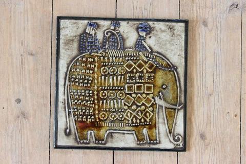 Lisa Larson(リサラーソン)/UNIK/ Elefant ゾウの陶板