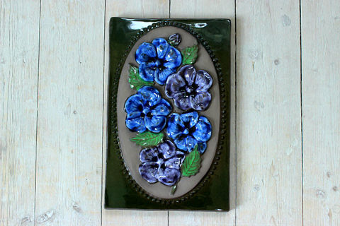 Jie Gantofta(ジィ・ガントフタ)青いお花の陶板(L)