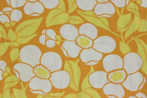 黄色の花柄のレトロファブリック(137×150cm)