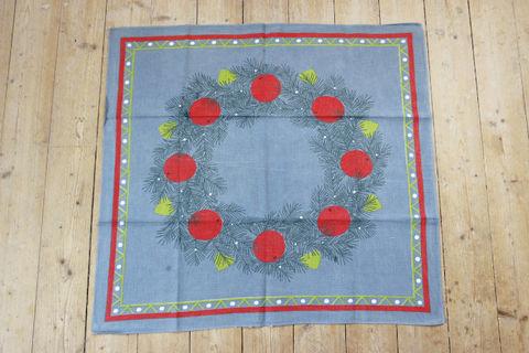 松葉とリンゴの大判クリスマスプリントクロス/テーブルクロス(69×74cm)