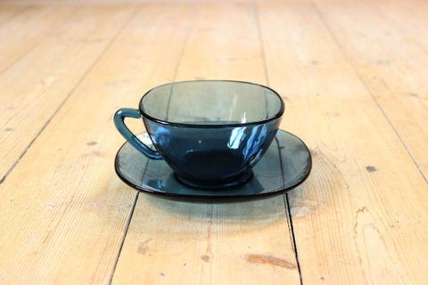 Vereco(ヴェレコ)耐熱ガラスのカップ&ソーサー(スモーキーブルー)