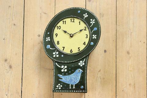 *超レア*Rorstrand(ロールストランド)Sylvia Leuchovius 陶器の壁掛け時計(鳥/グリーン)