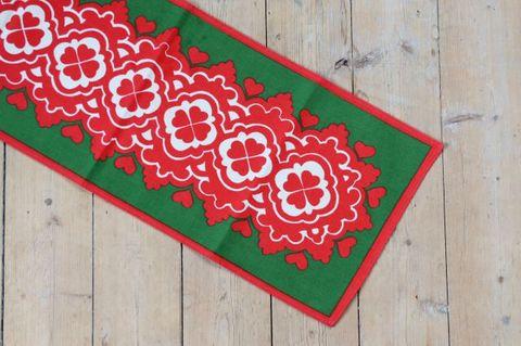 赤と緑のクリスマスモチーフのプリントクロス(72.5×26.5cm)