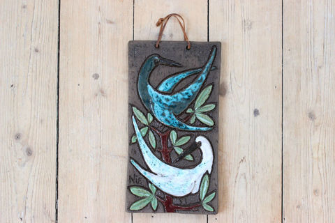 Tilgmans(ティルグマン)二羽の鳥の陶板(ブルー/白)
