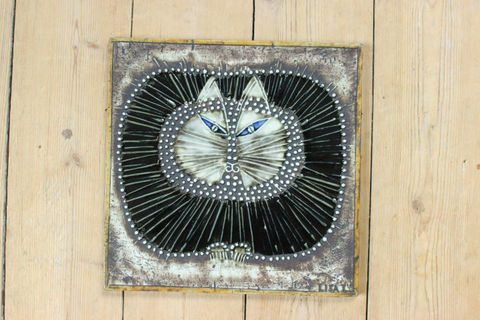 Lisa Larson(リサラーソン)/UNIK/Kat 丸ネコの陶板(レアカラー)