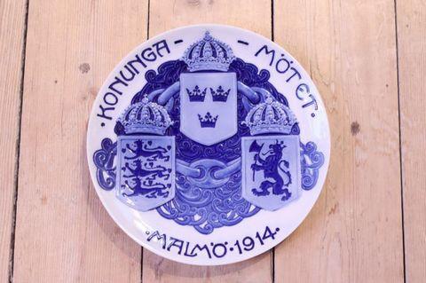 Rörstrand(ロールストランド)3か国王立会議記念プレート 1914年