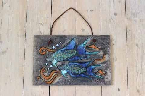 Tilgmans(ティルグマン)二匹の熱帯魚の陶板(ブルー/オレンジ)