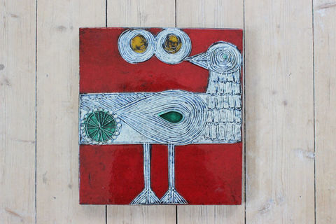 Lisa Larson(リサラーソン)/Vaggplattor  Drillsnappa/Sandpipper イソシギの陶板