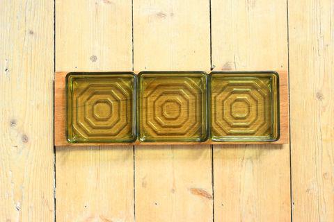 チークとスモークガラスのオードブルトレイ(M)