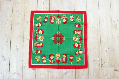 ニッセと小人のクリスマスプリントクロス(48.5×49.5cm)