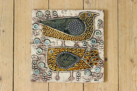 Lisa Larson(リサラーソン)/UNIK/FAGLAR 2羽の鳥の陶板