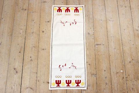 キャンドルとクリスマスの刺繍のクロス/テーブルセンター(27×67.5cm)