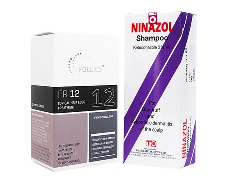 FR12ローション+ニナゾールシャンプー(Follics FR12 60ml+Ninazol Shampoo 100ml)