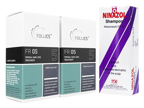 FR05ローション2本+ニナゾールシャンプー(Follics FR05 60ml+Ninazol Shampoo 100ml)