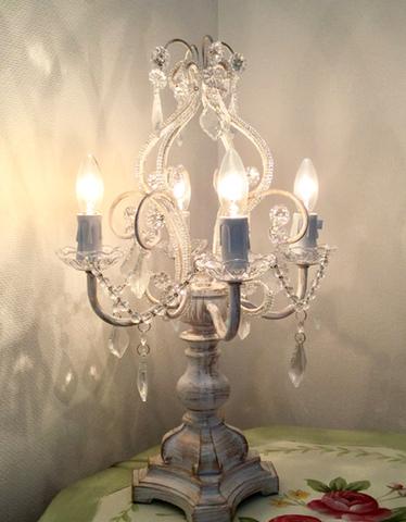 ヨーロッパ風★4灯ガラスシャンデリア