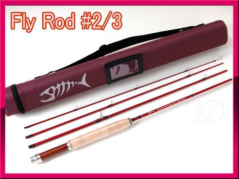 フライロッド #2/3 レッド 赤色 Fly Rod 6.8ft コンパクトロッド