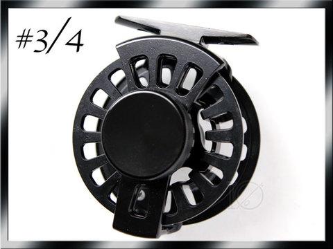 フライリール #3/4 Black ラージアーバータイプ Fly Reel ビッグドラグノブ